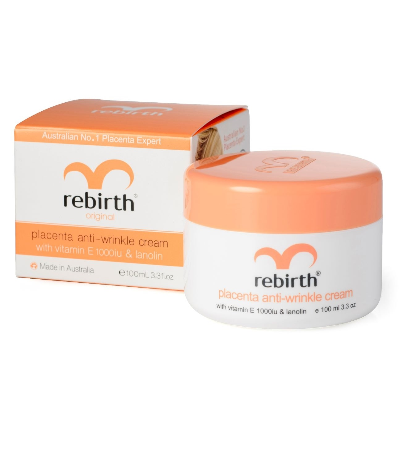Крем с экстрактом плаценты овец и ланолином Rebirth Placenta Anti-Wrinkle Cream With Vitamin E and Lanolin